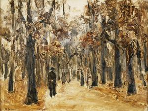 Zoological Gardens in Autumn with Figures Walking; Tiergarten Im Herbst Mit Spaziergangern by Max Liebermann
