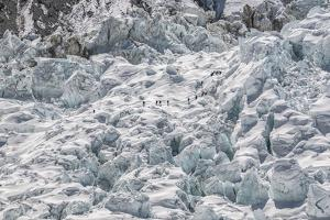 Climbers Descend the Khumbu Icefall by Max Lowe
