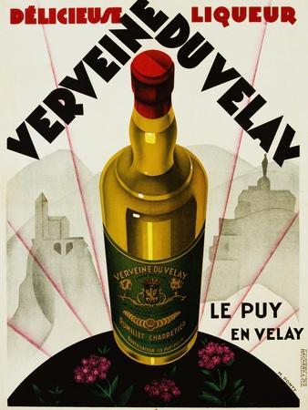 Verveine Duvelay Liqueur Advertisement Poster