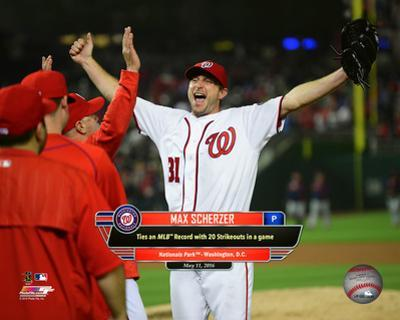 Max Scherzer celebrates tying strikeout record with 20 strikeouts at Nationals Park in DC, 5/11/16
