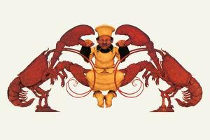 Chef and a Pair of Lobsters by Maxfield Parrish