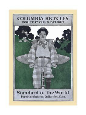 Columbia Bicycles Insure Cycling Delight, Standard of the World, Pope Manufacturing Co by Maxfield Parrish