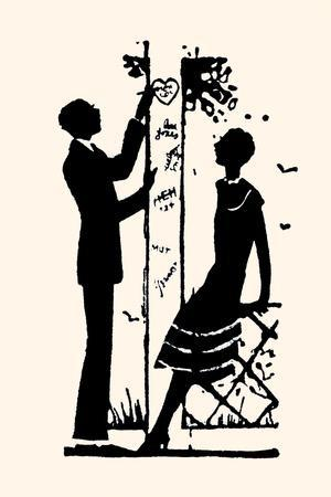 Suitor Pulls a Heart from a Trellis