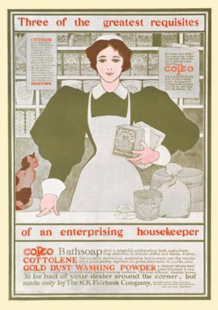 Three of the Greatest Requisites of an Enterprising Housekeeper - Copco, Cottolene by Maxfield Parrish