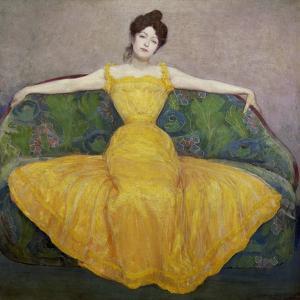Lady in Yellow, 1889 by Maximilian O Max Kurzweil