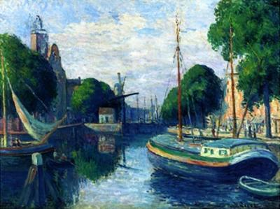 Barges on a Canal at Rotterdam, 1908 by Maximilien Luce
