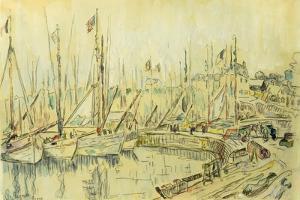 Barges on the Seine; Les Peniches Sur La Seine by Maximilien Luce