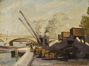 Cranes on the Seine; Grues Sur La Seine by Maximilien Luce