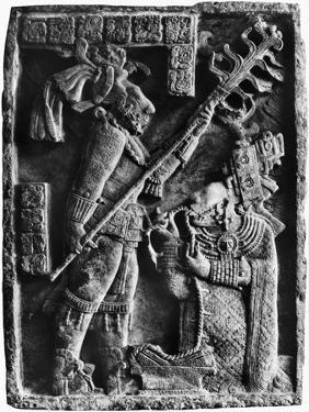 Mayan Stone Relief of Xoc Performing a Blood-Letting Ritual