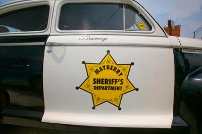 "Mayberry Sheriff's Department Police Car in Mount Airy, North Carolina, the town featured in ""Ma..."