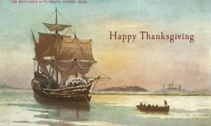 Mayflower and Rowboat