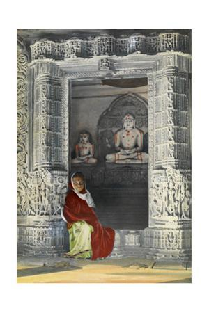 A Girl Sits in the Temple of Vimala Sah, Admiring the Marble Carvings by Maynard Owen Williams