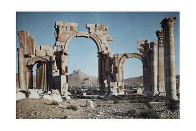 A Greco-Roman Portico Marks Entrance to Syria's Capital, Palmyra by Maynard Owen Williams