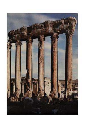 A View of the Juniper Temple in Front of the Baalbek Temple at Sunset by Maynard Owen Williams