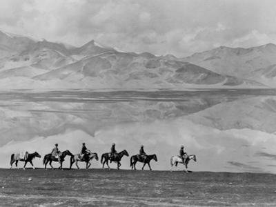 Men on Horseback Riding Along the Shore of Lake Bulun Kul by Maynard Owen Williams