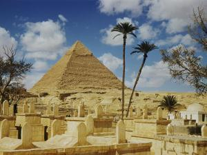The Great Pyramid of Cheops Seen Behind an Arab Cemetery by Maynard Owen Williams