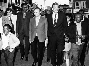 Mayor John Lindsay and Actor Marlon Brando Take a Goodwill Stroll Through Harlem, May 2, 1968