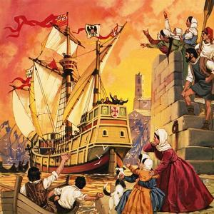 Columbus Setting Sail in the Santa Maria in August 1492 by Mcbride