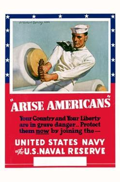 Arise Americans Navy Recruitment Poster by McClelland Barclay