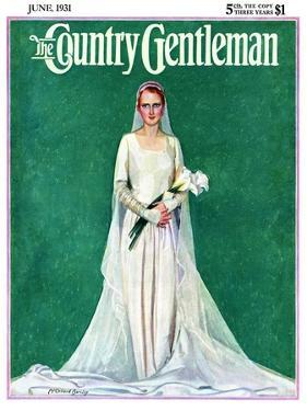 """""""Bride with Calla Lilies,"""" Country Gentleman Cover, June 1, 1931 by McClelland Barclay"""