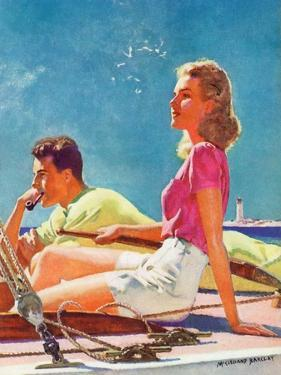 """""""Couple on Sailboat,""""August 1, 1939 by McClelland Barclay"""