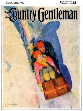 """""""Couple on Toboggan,"""" Country Gentleman Cover, January 1, 1929 by McClelland Barclay"""