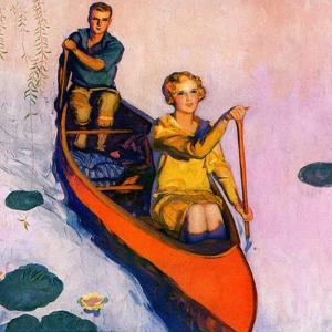 """Couple Paddling Caone,""August 1, 1929 by McClelland Barclay"