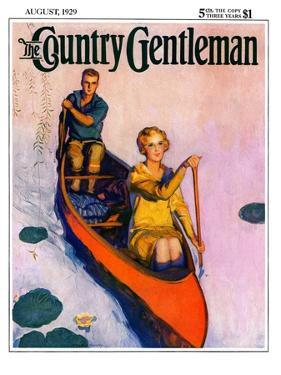 """Couple Paddling Caone,"" Country Gentleman Cover, August 1, 1929 by McClelland Barclay"