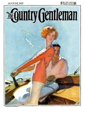 """""""Couple Sailing,"""" Country Gentleman Cover, August 1, 1927 by McClelland Barclay"""