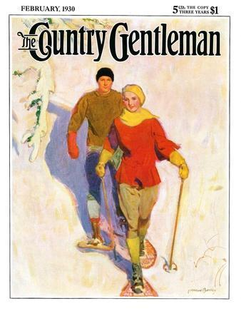 """""""Couple Wearing Snowshoes,"""" Country Gentleman Cover, February 1, 1930"""