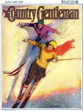 """""""Downhill Skiing,"""" Country Gentleman Cover, January 1, 1927 by McClelland Barclay"""