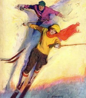"""Downhill Skiing,""January 1, 1927 by McClelland Barclay"