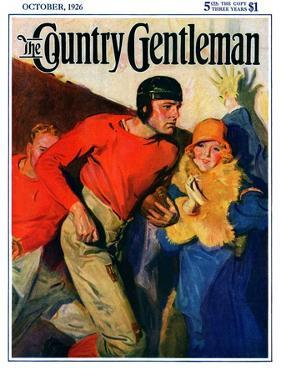 """""""Football Player and Fan,"""" Country Gentleman Cover, October 1, 1926 by McClelland Barclay"""