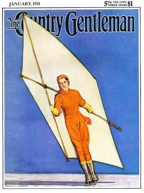 """""""Ice-Skating under Sail,"""" Country Gentleman Cover, January 1, 1931 by McClelland Barclay"""
