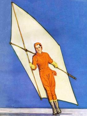 """""""Ice-Skating under Sail,""""January 1, 1931 by McClelland Barclay"""