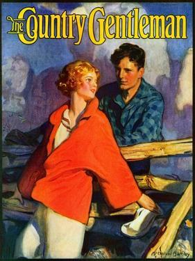 """""""Meeting by the Fence,"""" Country Gentleman Cover, April 1, 1926 by McClelland Barclay"""