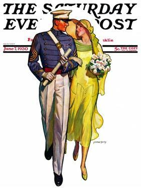 """""""Military Grad and Girl,"""" Saturday Evening Post Cover, June 7, 1930 by McClelland Barclay"""
