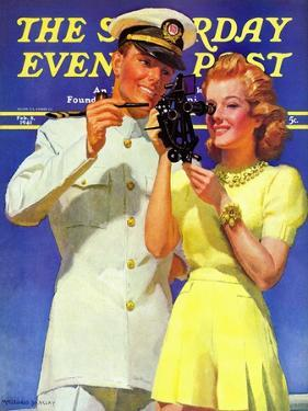 """""""Naval Officer & Redhead,"""" Saturday Evening Post Cover, February 8, 1941 by McClelland Barclay"""