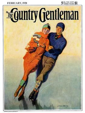 """""""Skating Couple,"""" Country Gentleman Cover, February 1, 1928 by McClelland Barclay"""