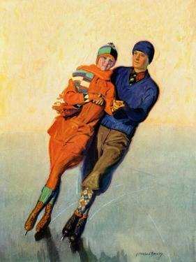 """""""Skating Couple,""""February 1, 1928 by McClelland Barclay"""
