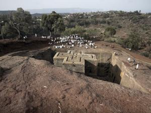 Sunday Mass Celebrated at the Rock-Hewn Church of Bet Giyorgis, in Lalibela, Ethiopia by Mcconnell Andrew