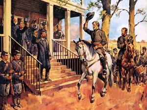 General Lee and His Horse 'Traveller' Surrenders to General Grant by McConnell