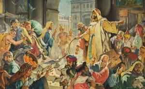 Jesus Removing the Money Lenders from the Temple by McConnell