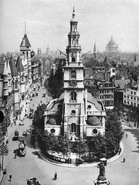 Church of St Clement Danes, the Strand and Fleet Street from Australia House, London, 1926-1927 by McLeish