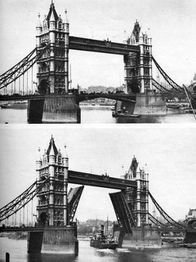 Tower Bridge Open and Closed, London, 1926-1927 by McLeish