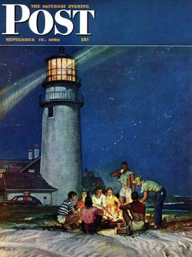 """Beach Bonfire"" Saturday Evening Post Cover, September 16, 1950 by Mead Schaeffer"
