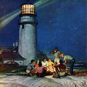 """Beach Bonfire"", September 16, 1950 by Mead Schaeffer"