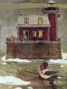 """""""Christmas at the Lighthouse,"""" December 28, 1946 by Mead Schaeffer"""