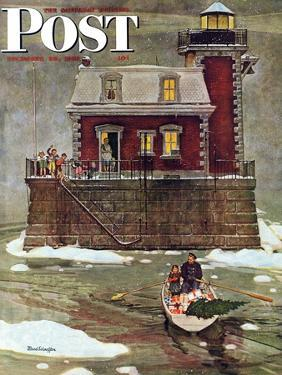 """""""Christmas at the Lighthouse,"""" Saturday Evening Post Cover, December 28, 1946 by Mead Schaeffer"""