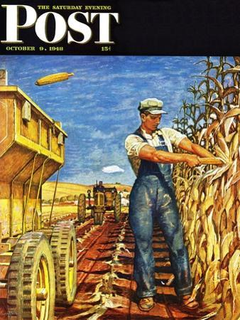 """""""Corn Harvest,"""" Saturday Evening Post Cover, October 9, 1948 by Mead Schaeffer"""